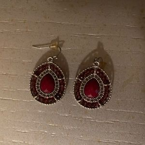 Francesca's Silver and Maroon Earrings
